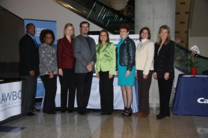 The staff of the Goldman Sachs 10,000 Small Businesses Program (left to right): Kelvin Gipson, Alumni Manager; Klassi Duncan, Business Advisor; Carla Coury, Executive Director; Jerry Lenaz, Business Support Services Director; along with NAWBO-NOLA's Myra Corrello, Tina Dandry-Mayes, Shelly Grimm-Latino, and Sheila Craft.  Missing: Gina Ruttley.